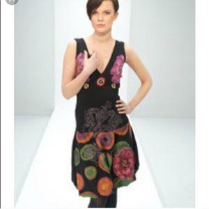 Desigual // Floral V-Neck Tie-Back Tank Dress